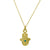 Gold Hamsa Charm Necklace with Turquoise-Brevard