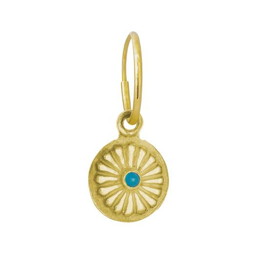 Gold Helios with Turquoise • Endless Hoop Charm Earring-Brevard