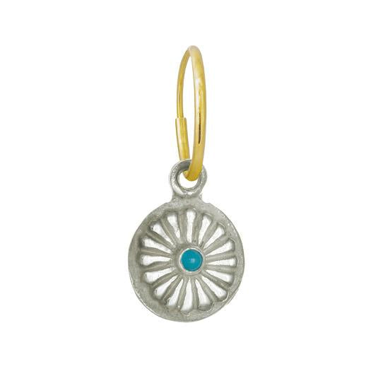 Helios with Turquoise • Endless Hoop Charm Earring-Brevard
