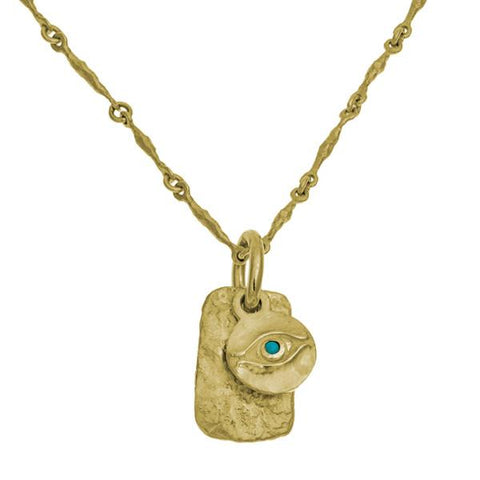 Gold Horus with Turquoise Layered Tablet Necklace-Brevard