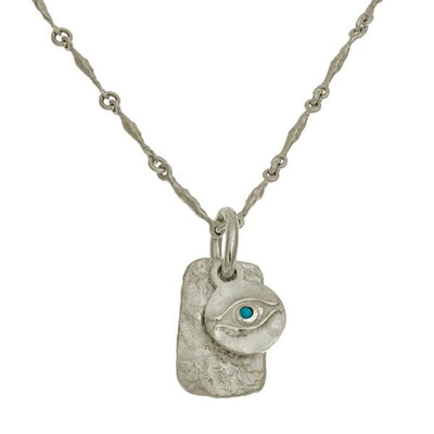 Horus Layered Tablet Necklace with Turquoise-Brevard