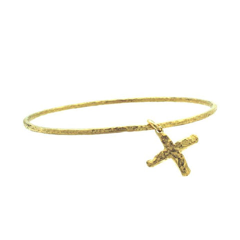 Gold Jachin Cross Hammered Charm Bangle-Brevard