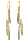 Pavé Two Tone Jupiter Ligtning Bolt • Endless Hoop Charm Earring-Brevard