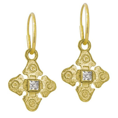 Gold Justine with Stone • Endless Hoop Charm Earring-Brevard