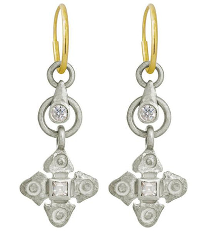 Justine Drop with Stone • Endless Hoop Charm Earring-Brevard