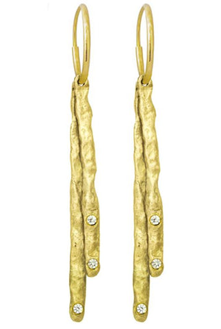 Gold Layered Sticks Earring with Stones-Brevard