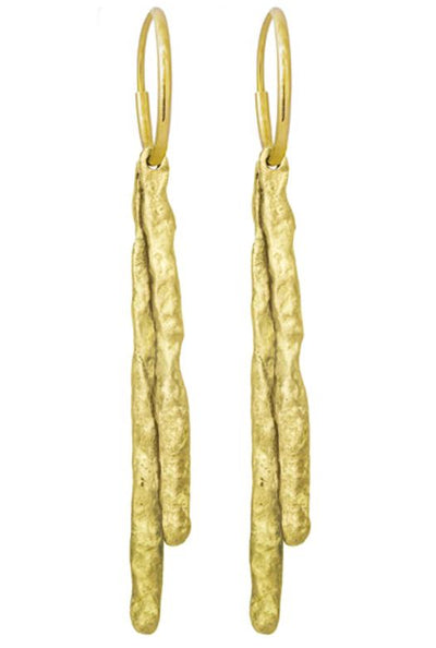Gold Layered Sticks • Endless Hoop Charm Earring-Brevard