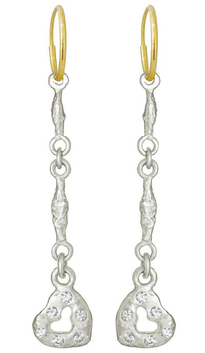Linked Old Money Heart with Stones • Endless Hoop Charm Earring-Brevard