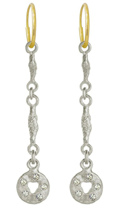 Linked Old Money with Stones • Endless Hoop Charm Earring-Brevard