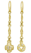 Gold Linked Old Money + Old Money Cruz with Stones • MISMATCH ENDLESS HOOP CHARM EARRING PAIR-Brevard
