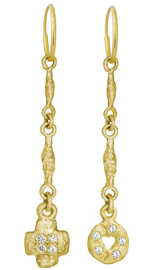 Gold Linked Old Money + Old Money Cruz with Stones Mismatch Earring Pair-Brevard