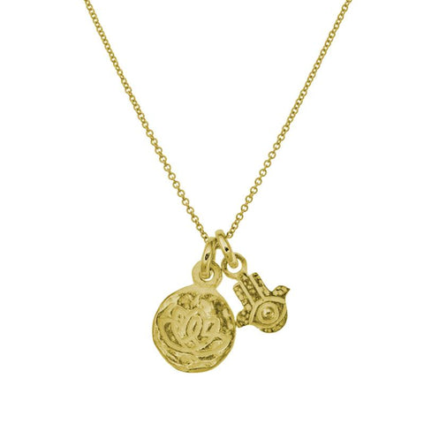 Gold Living Beauty Double Charm Hamsa Necklace-Brevard