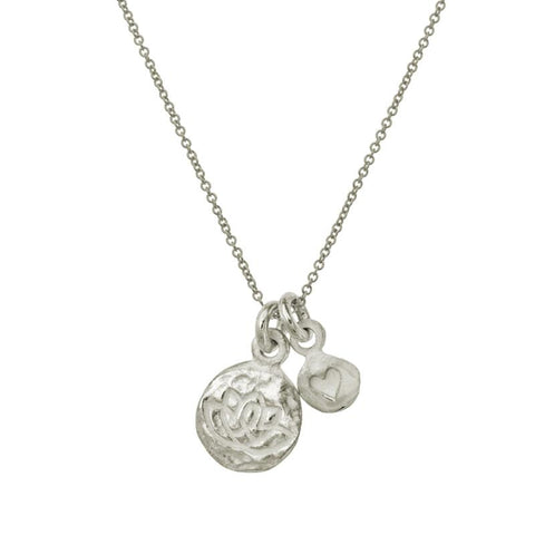 Living Beauty Double Heart Charm Necklace-Brevard