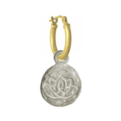 Living Beauty Lotus Flower • LATCH HOOP CHARM EARRING-Brevard