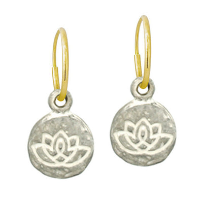Living Beauty Lotus Flower • Endless Hoop Charm Earring-Brevard