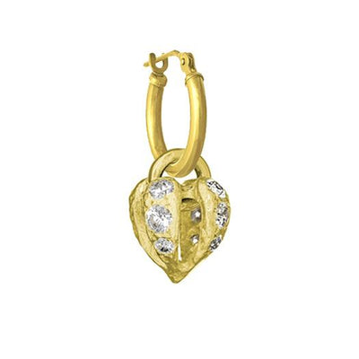 Gold Lotus Heart Drop with Stones • Latch Hoop Charm Earring-Brevard