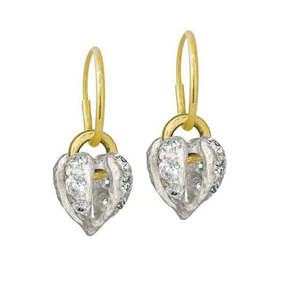 Lotus Heart Drop with Stones • Endless Hoop Charm Earring-Brevard