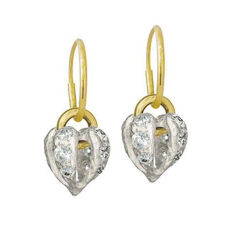 Lotus Heart Drop Earring with Stones-Brevard
