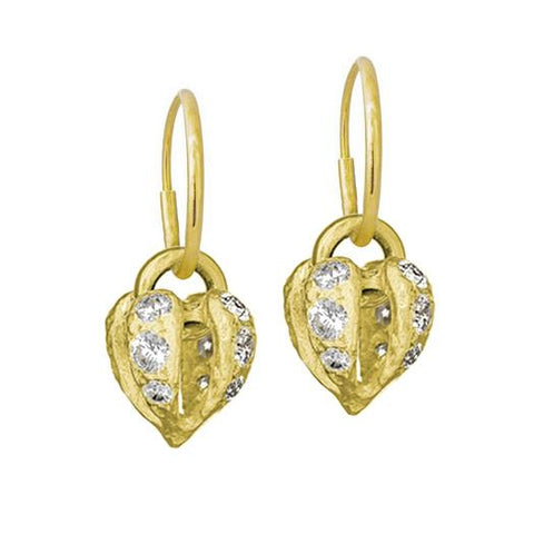Gold Lotus Heart Drop Earring with Stones-Brevard