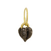 Black Diamond Lotus Heart Drop • Endless Hoop Charm Earring-Brevard