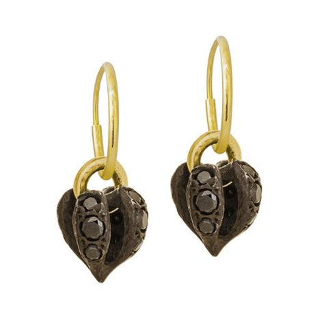 Black Diamond Lotus Heart Drop Earring-Brevard