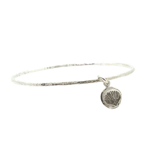 Marina Shell Hammered Charm Bangle-Brevard
