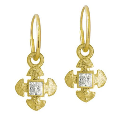 Gold Medium Cruz with Stone • Endless Hoop Charm Earring-Brevard