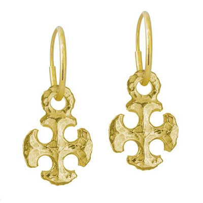 Gold Medium Lotus Cross • Endless Hoop Charm Earring-Brevard