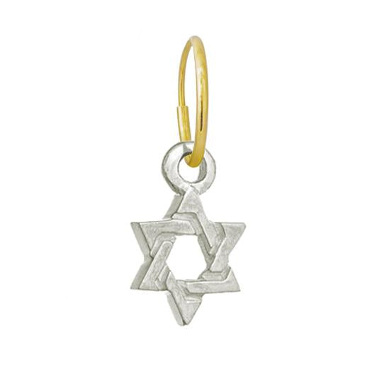 Medium Star of David • Endless Hoop Charm Earring-Brevard