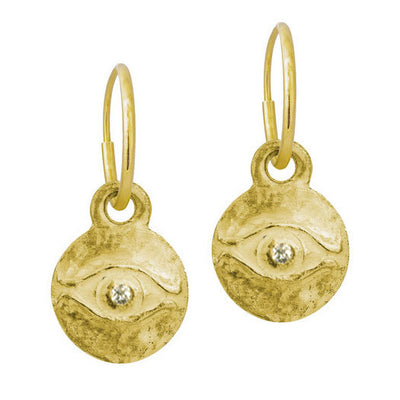 Gold Medium Horus with Stone • Endless Hoop Charm Earring-Brevard
