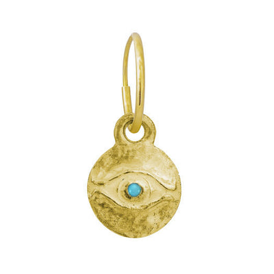 Gold Medium Horus with Turquoise • Endless Hoop Charm Earring-Brevard
