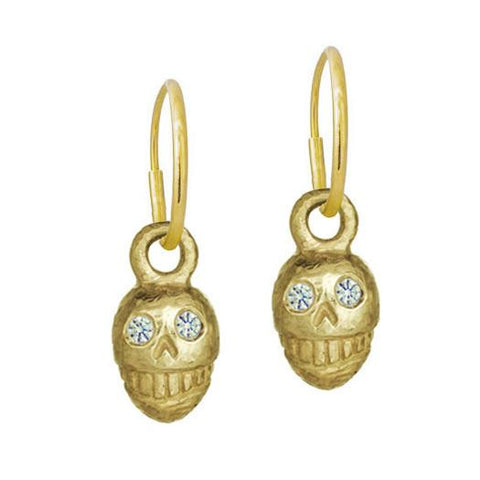 Gold Medium Pirate Earring with Stones-Brevard