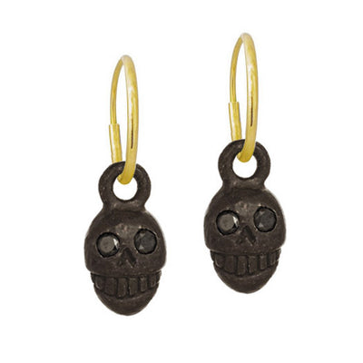 Black Diamond Medium Pirate • Endless Hoop Charm Earring-Brevard
