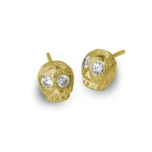 Gold Medium Rodger Stud Earring with Stones-Brevard