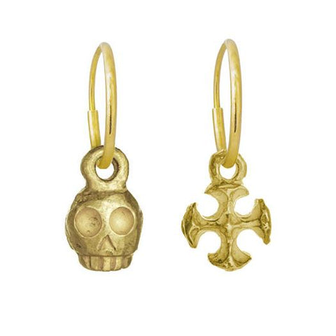 Gold Medium Rodger + Tiny Lotus Cross Mismatch Earring Pair-Brevard
