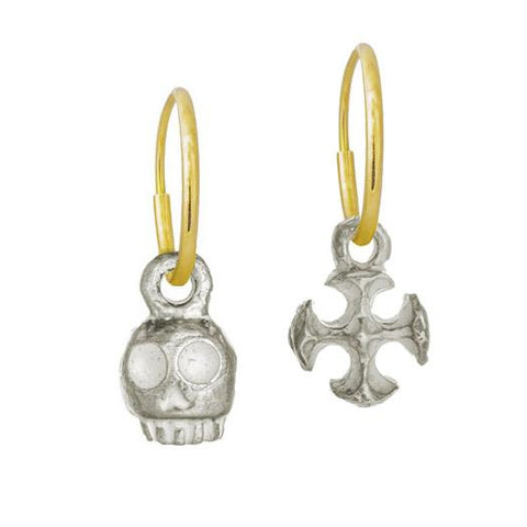 Medium Rodger & Tiny Lotus Cross • Mismatch Endless Hoop Charm Earrings-Brevard
