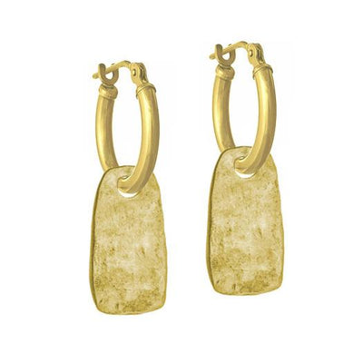 Gold Medium Stele • Latch Hoop Charm Earring-Brevard