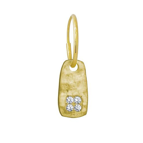 Gold Medium Stele Earring with Stones-Brevard