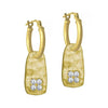 Gold Medium Stele with Stones • Latch Hoop Charm Earring-Brevard