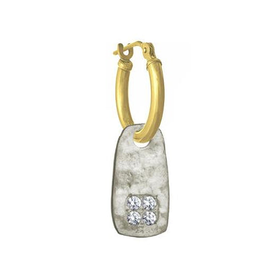 Medium Stele with Stones • Latch Hoop Charm Earring-Brevard
