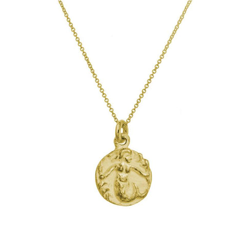 Gold Mermaid Charm Necklace-Brevard