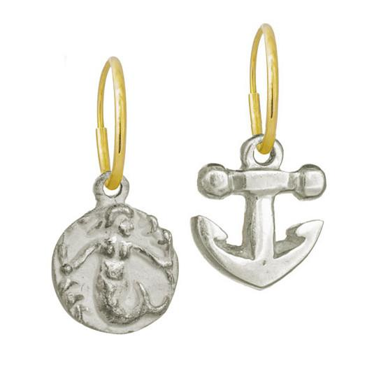 Mermaid + Anchor Mismatch Earring Pair-Brevard