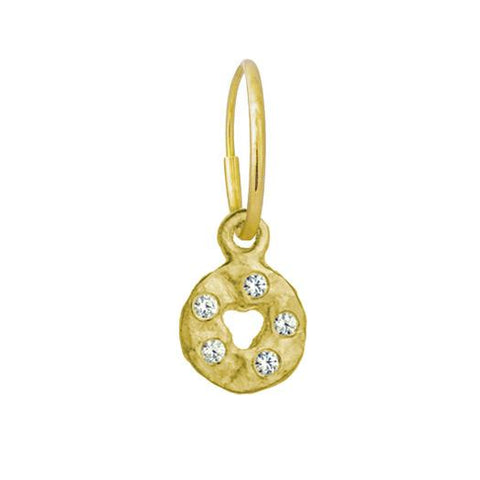 Gold Mini Money Earring with Stone-Brevard