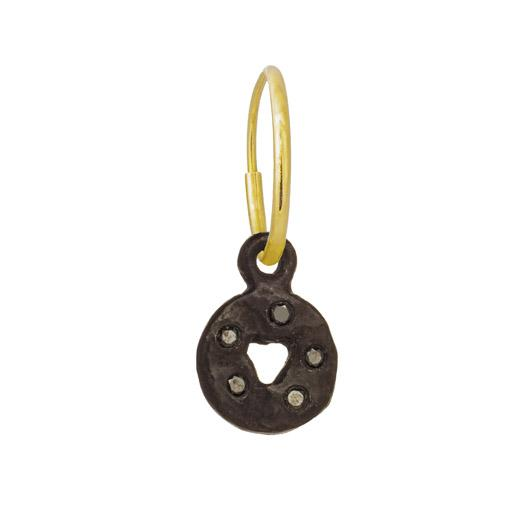 Black Diamond Mini Money • Endless Hoop Charm Earring-Brevard