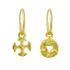 Gold Mini Money + Tiny Lotus Cross Mismatch Earring Pair-Brevard