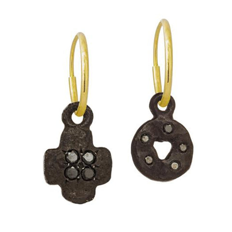 Oxidized Black Diamond Mini Money + Tiny Cruz Mismatch Earring Pair-Brevard