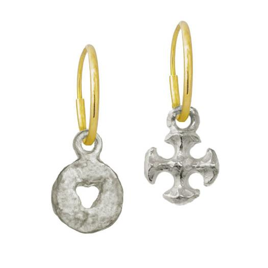 Mini Money + Tiny Lotus Cross Mismatch Earring Pair-Brevard