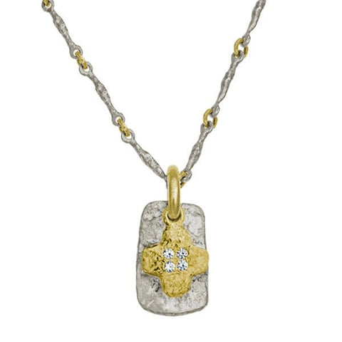 Two-Tone Old Money Cruz Layered Tablet Necklace-Brevard