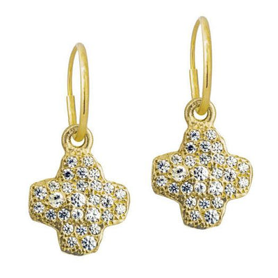 Gold Pavé Old Money Cruz • Endless Hoop Charm Earring-Brevard