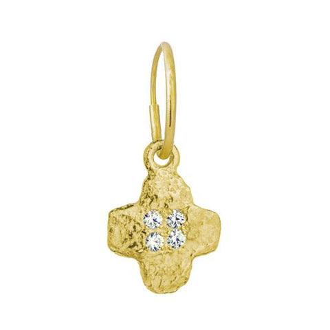 Gold Old Money Cruz Earring with Stones-Brevard